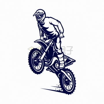 提起车头的骑越野摩托车特技表演卡通漫画插画png图片素材