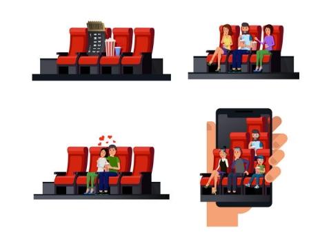 四款插画风格看电影图片免抠素材