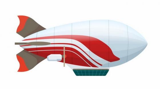 红色图案装饰的银色飞艇png图片免抠eps矢量素材