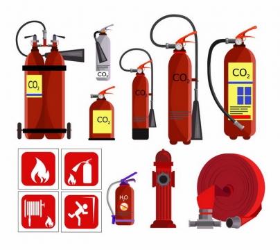 各种二氧化碳灭火器消火栓水管等消防设施png图片免抠矢量素材