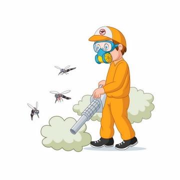 戴着防毒面具的工人正在喷洒灭蚊杀虫剂png图片免抠矢量素材