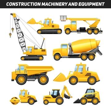 各种采矿修路专用的大型吊车推土机压路机水泥车等工程机械图片免抠矢量素材