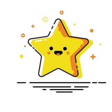 MBE风格可爱卡通带微笑表情的黄色小星星五角星图片免抠素材