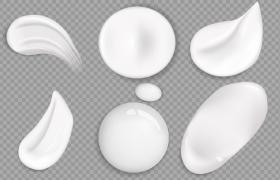 6款乳白色的乳液化妆品液滴图片免抠素材