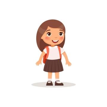 卡通可爱风格背着书包的小女孩儿童节图片免抠素材