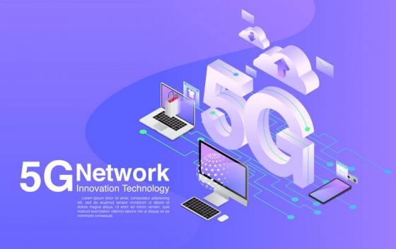 2.5D风格5G技术连接手机笔记本电脑云计算免抠矢量图素材