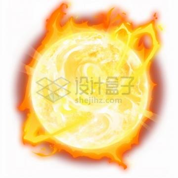 发光发热的太阳漫画风格宇宙星球png图片素材