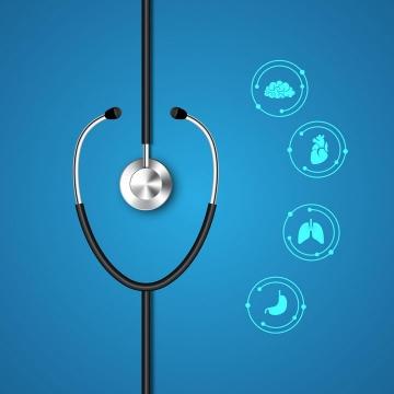 医生医疗用品听诊器和内脏图标图片免抠矢量素材