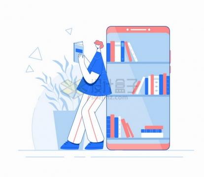 年轻人在手机书架上看书手机阅读扁平插画png图片免抠矢量素材