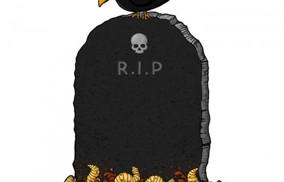卡通风格在墓碑上停留的乌鸦免抠矢量图素材