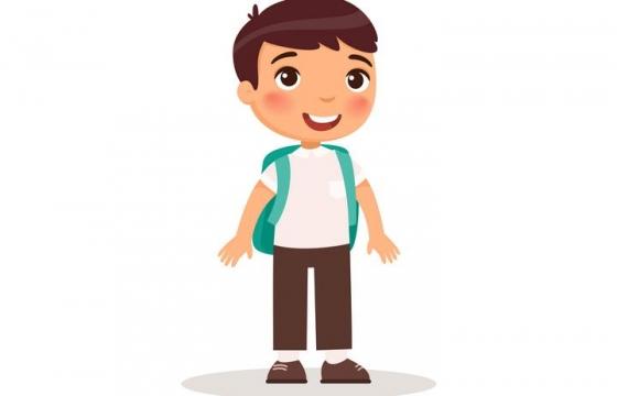 卡通可爱风格背着书包的男孩儿童节图片免抠素材