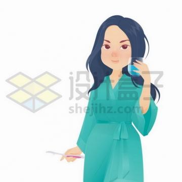 早上穿着睡衣的卡通女孩正在漱口刷牙png图片免抠矢量素材