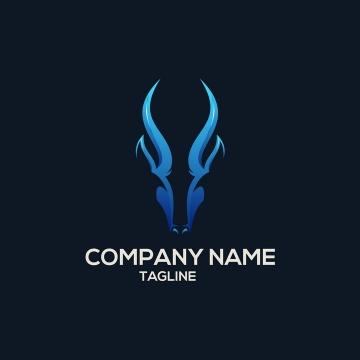 蓝色山羊LOGO商标图片设计素材