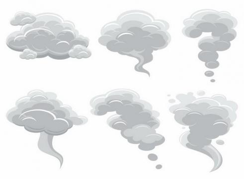 6款灰色的烟雾云朵乌云png图片免抠eps矢量素材