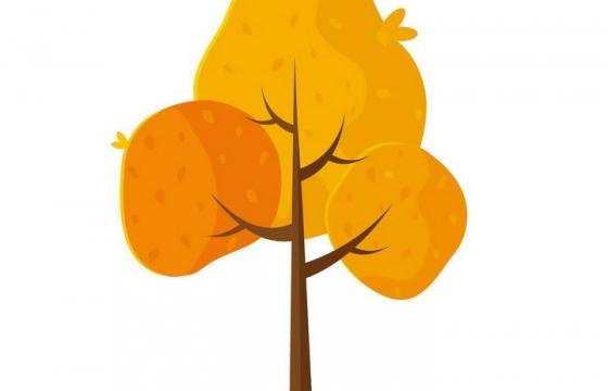 手绘风格秋天枯黄的树木免抠PNG图片素材