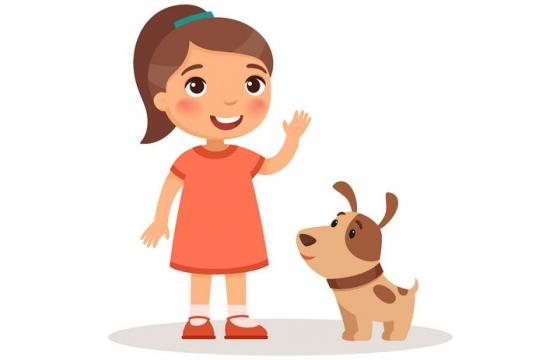 卡通可爱风格小女孩和宠物狗小狗儿童节图片免抠素材