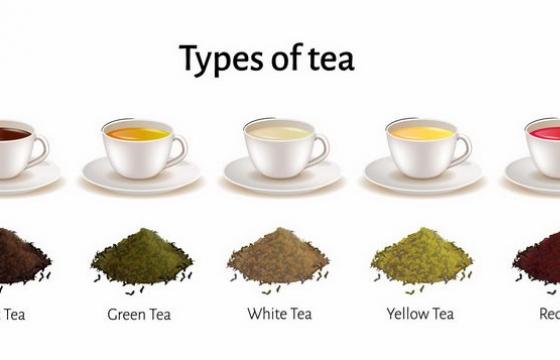 5款黑茶绿茶白茶黄茶红茶等美味茶叶饮料png图片免抠eps矢量素材