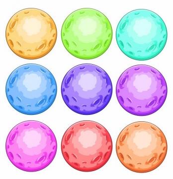 9款卡通彩色星球月球png图片免抠eps矢量素材