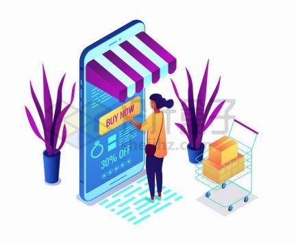 2.5D风格推着购物车在手机上买东西的客户png图片免抠矢量素材