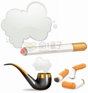 冒烟的香烟和烟斗等抽烟工具禁止吸烟png图片免抠矢量素材