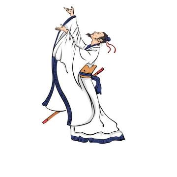 对酒当歌手绘插画风格历史人物肖像古人屈原李白图片免抠素材