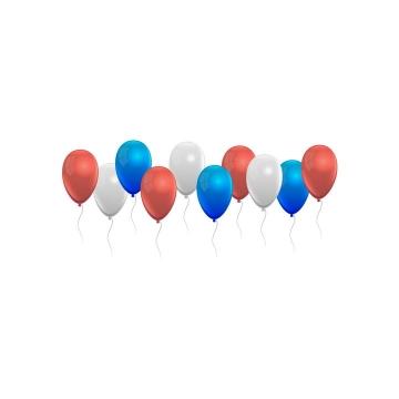 漂浮着的白色红色蓝色气球免抠矢量图素材