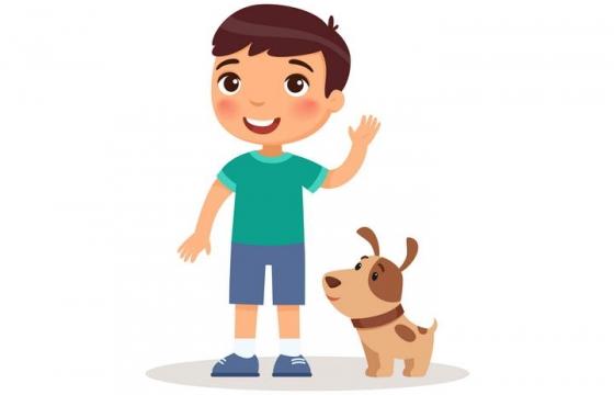 卡通可爱风格男孩和宠物狗小狗儿童节图片免抠素材