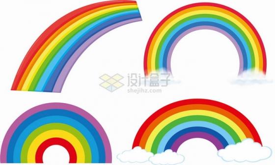 4款七彩虹图案png图片免抠eps矢量素材