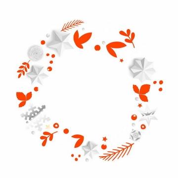 白色五角星和红色树叶装饰的圆环png图片免抠矢量素材