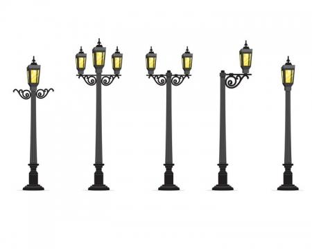 5款复古风格的公园街道路灯图片免抠矢量素材