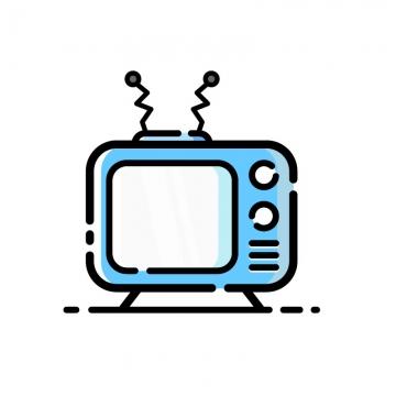 MBE风格可爱的卡通蓝色电视机家电图片免抠素材