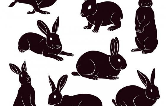 8种黑色的兔子图案图片免抠素材