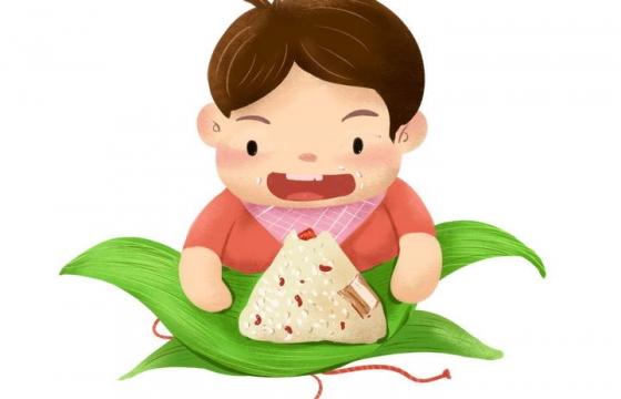 可爱卡通风格剥开粽叶准备吃粽子的小朋友图片免抠素材