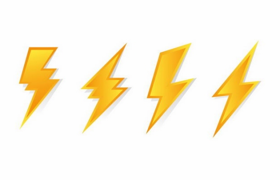 4款黄色渐变色风格闪电标志符号图片png免抠素材