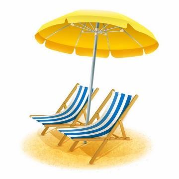 黄色遮阳伞和蓝白色沙滩躺椅海边旅游png图片免抠eps矢量素材