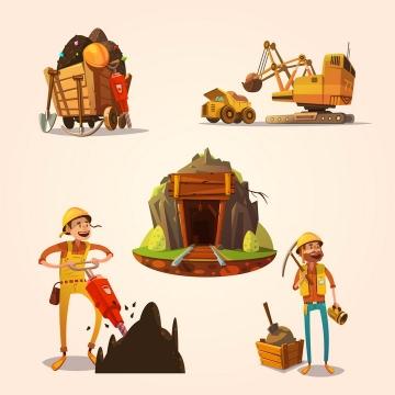 卡通漫画风格挖矿的矿工和矿山以及挖掘机械图片免抠矢量素材