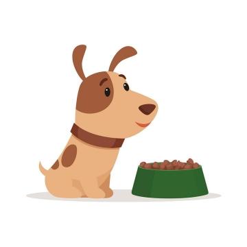 卡通可爱风格准备吃狗粮的宠物狗小狗图片免抠素材