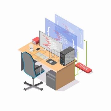 2.5D风格程序员的电脑桌面和显示器显示画面png图片免抠矢量素材