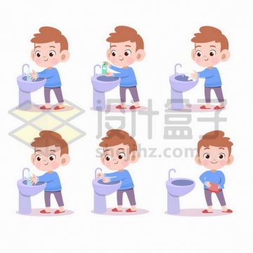 卡通小男孩正在洗手池上洗手讲究卫生png图片免抠矢量素材