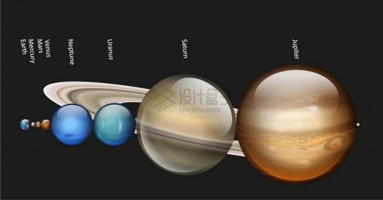 水晶风格太阳系木星土星天王星海王星火星地球金星水星等八大行星大小对比png图片免抠eps矢量素材