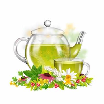 点缀了鲜花花朵的玻璃茶壶和茶杯png图片免抠eps矢量素材