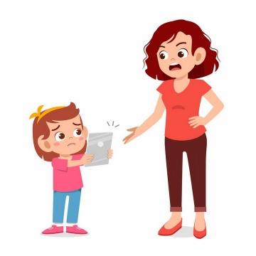 卡通小女孩弄坏了妈妈的手机正在被教训png图片免抠矢量素材