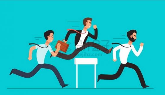 扁平插画正在跨栏的商务人士象征了职场竞争激烈png图片免抠矢量素材