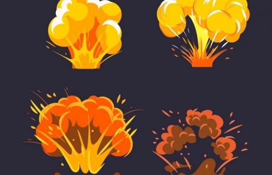 4款卡通插画风格爆炸效果图片免抠素材