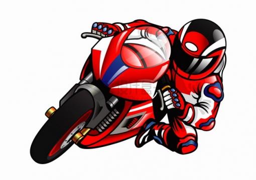 卡通红色摩托车比赛转弯压弯png图片素材