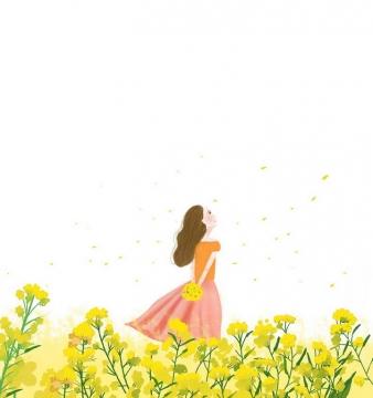 彩绘风格春天站在油菜花田里的少女png图片免抠素材