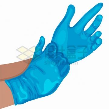 一双手正在戴医用手套png图片素材