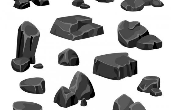 各种卡通风格灰色的石块石头岩石图片免抠矢量素材