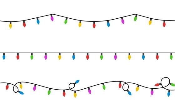 简约电线上的小彩灯免抠矢量图素材