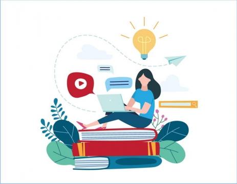 扁平化插画风格坐在书本上用电脑的女孩图片配图素材